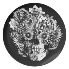 Floral Butterfly Ohm skull illustration in black Plate #floralskullplate, #ohmskull, #sunflowers, #roseskull, #ornateskull