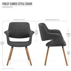 Finley Eames Style Chair Walnut & Charcoal