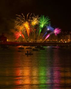 Taste the rainbow Fireworks competition in San Sebastian, Spain<br> Day 4 of the fireworks competition and I found a new place to take some shots!