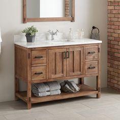 bathroom vanity Morris Console Vanity for Rectangular Undermount Sink - Bathroom Vanities - Bathroom Diy Bathroom, Small Bathroom, Single Bathroom Vanity, Modern Bathroom, Bathroom Decor, Bathroom Makeover, Rustic Bathroom Vanities, Bathroom Furniture, Bathroom