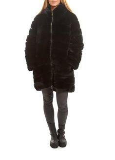 Black Rex Rabbit Fur Hooded Coat