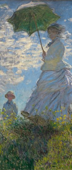 Claude Monet (1840-1926), 1875, Woman with a parasol or Madam Camille Doncieux Monet and their son Jean. (detail)