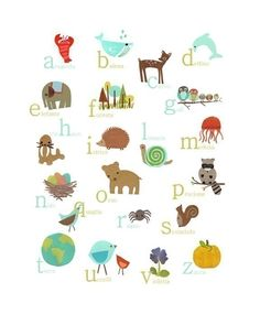 Italian Nature Themed Alphabet 11x14 Poster. $28.00, via Etsy.