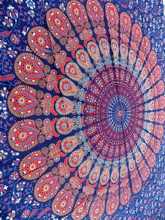 This is the most beautiful design of mandala tapestry. its blue color combined with pink red gives great look. this is best for any kind of wall and