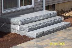 paver patio stairs with landing Concrete Patios, Concrete Steps, Brick Patios, Pavers Patio, Diy Concrete, Walkway, Patio Steps, Outdoor Steps, Diy Porch