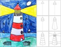 The Little Red Lighthouse - Art Projects for Kids: How to Draw a Lighthouse … Little Red Lighthouse, Lighthouse Art, Lighthouse Drawing, Drawing Projects, Drawing Lessons, Art Projects, Drawing Ideas, Drawing For Kids, Art For Kids