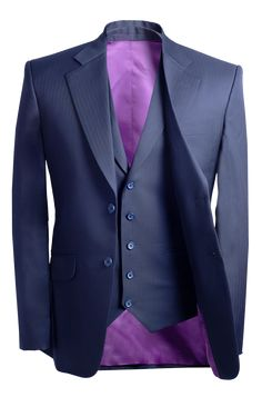 Blue suit with purple lining