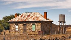 Abandoned and derelict Bluestone house Greenhill, Victoria, Australia, 81 km distance from Melbourne Town Hall.
