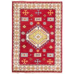 Make a statement in your home with the Hand-knotted Royal Kazak Medallion Red Wool Rug. This attractive traditional rug features beautiful colors and designs that are sure to look great in any room.