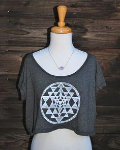 Sri Yantra Sacred Geometry Yoga Loose Crop Top - Almost Black
