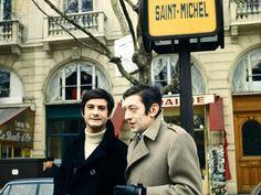 """Jean-Claude Brialy et Serge Gainsbourg sur le tournage de """"Anna"""" (Pierre Koralnik, 1967), à Paris."""