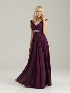 Formal Sheath/Column v neck long purple chiffon bridesmaid dress with beading