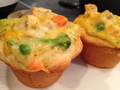 Individual Potpies--I want to try with my normal homemade potpie filling and biscuits so it's a bit healthier.  Press biscuit dough into muffin tin, add filling.  Cook at 400 for 12-15 minutes.