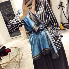 Spring and summer fashion women clothes turn-down collar striped patchwork shirt female scarf spliced 49.99 CAD Cheap Blouses, Shirt Blouses, Shirts, Herringbone Pattern, Women's Summer Fashion, Sleeve Styles, Street Wear, Clothes For Women, Female