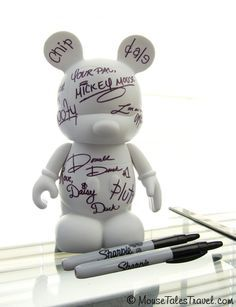 """Instead of your classic autograph book, maybe try out this blank 9"""" vinylmation as a 3D canvas to display your Disney memories on! Just have your favorite characters autograph your blank Mickey, and you'll have a personalized and beautiful way of showcasing your Disney memories!"""