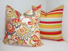 OUTDOOR Deck Patio Pillow Cover Stripe & Floral Set by HomeLiving, $36.00