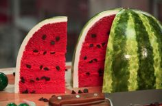 Watermelon Cake with Pink Velvet Cake, Chocolate Chips, and Pink Butte – HOW TO CAKE IT Red velvet cake