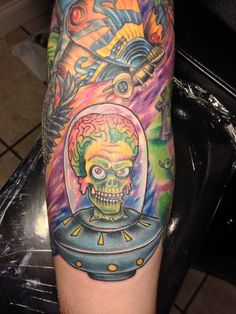 Mars Attacks tattoo done by Courtney Raimondi at Dakota Ink Tattoo in East Islip, NY  follow me on instagram for more tattoo photos @Courtney Raimondi