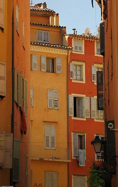 20090923_10 Yellow and orange houses in Grasse, France by ratexla, via Flickr