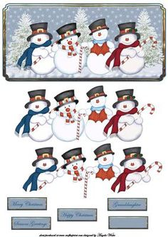 Snowman and his pals card front and decoupage, with sentiment tags merry Christmas, happy Christmas, seasons greetings, granddaughter Christmas Sheets, Christmas Topper, Christmas Clipart, Christmas Printables, Christmas Snowman, Christmas Crafts, Merry Christmas, Christmas Card Images, Christmas Sentiments