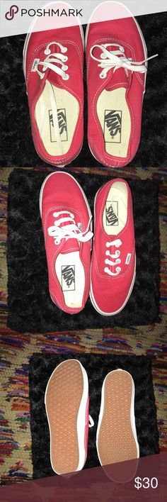 Brand New Red Vans Never worn! (besides to try on at store). I got these my freshman year of college because red was one of my schools colors, but i ended up never wearing them. Laces included, welcome to negotiate Vans Shoes Sneakers