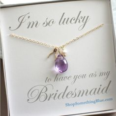 An Amethyst & Wishbone Necklace for Wedding Party Gifts