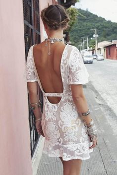 Elegant Backless Floral Lace Dress in White