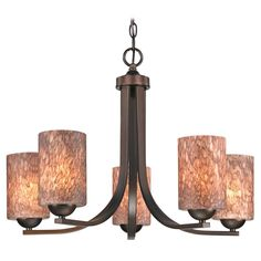 Design Classics Lighting Modern Chandelier with Brown Art Glass in Neuvelle Bronze Finish 584-220 GL1016C