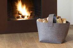 Holzkorb aus Filz von Woodsteel GmbH