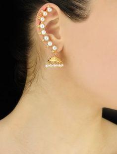 Handmade Pearl Silver Ear Cuffs Earring by Jaipurmahal on Etsy Indian Jewelry Earrings, Jewelry Design Earrings, Gold Earrings Designs, Ear Jewelry, Cuff Earrings, Antique Jewellery Designs, Fancy Jewellery, Gold Jewellery Design, Gold Jewelry Simple