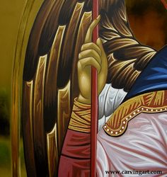 Archangel Michael II Details - CarvingArt woodcarved miniatures & hand painted byzantine icons