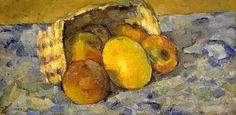 Paul Cézanne   ~  Overturned Basket of Fruit (19th century)