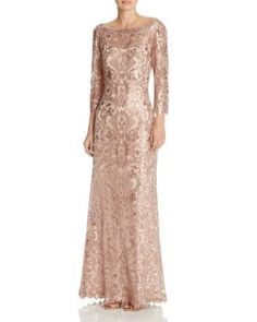 Tadashi Shoji Gown - Three Quarter Sleeve Lace Belted | Bloomingdales's