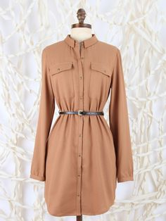 Altar'd State Long Sleeve Button Up Dress with Belt