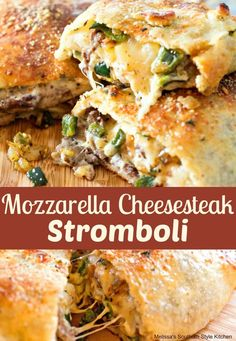 Mozzarella Cheesesteak Stromboli The Best Stromboli Recipes are about to change your life! You will not believe how beyond delicious these savory turnovers are! Gourmet Recipes, Beef Recipes, Dinner Recipes, Cooking Recipes, Healthy Recipes, Leftover Steak Recipes, Dinner Ideas, Dinner Options, Pizza Recipes