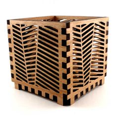 Wood Candle Holder with Herringbone Pattern  Laser by AngelasLine, $45.00