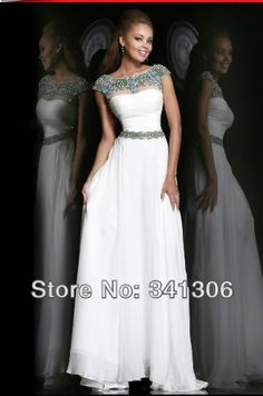 2014 New Arrival High Quality White Scoop Backless Sexy Floor-Length Chiffon A-Line Evening Dress Party Long Dresses Gowns