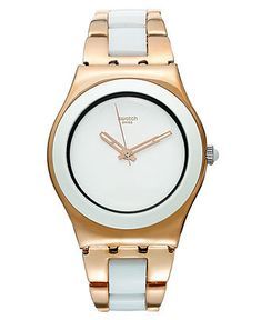 Swatch Watch, Women's Swiss Rose Pearl Pink Gold PVD Stainless Steel and White Nylon Bracelet 33mm YLG121G - All Watches - Jewelry & Watches - Macy's