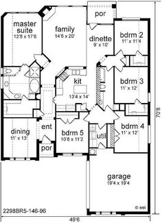 House Plan 89818 - European , House Plan with 2298 Sq Ft, 5 Bed, 2 Bath, 2 Car Garage House Plans One Story, Best House Plans, Dream House Plans, House Floor Plans, Story House, Simple House Plans, Modern House Plans, The Plan, How To Plan