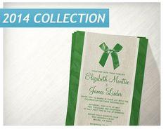 Green Vintage Bow Linen Wedding Invitations