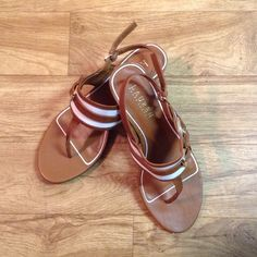 Ralph Lauren Sandals White and brown in color with gold buckle detailing. Ralph Lauren Shoes Sandals