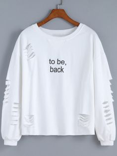 Cut-out Letter Print Sweatshirt -SheIn(Sheinside)