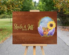 Sunflower Wedding Guest Book Wood Sign / Sunflower Painting on Wood / Personalized Fall Wedding / Outdoor Wedding Decor / Wedding Gift  #sunflower #sunflowerwedding #rusticwedding #guestbook