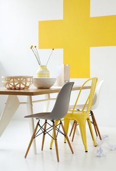 yellow ( fav color at mo ) cross ~ great symbol ~ tolix chair..cool....just a great group of cool shit !!!