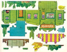 western house cut-out Box Houses, Putz Houses, Paper Houses, House Template, Glitter Houses, Vintage Paper Dolls, Paper Models, Paper Toys, Printable Paper
