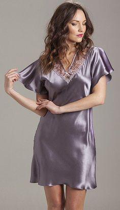 Flattering nightshirt bias cut in silk satin to give a fluid, easy fit. Pyjama Satin, Satin Nightie, Satin Sleepwear, Satin Lingerie, Pretty Lingerie, Sleepwear Women, Beautiful Lingerie, Pijamas Women, Cheongsam Dress