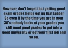 However, don't forget that getting good exam grades helps get up that ladder. So even if by the time you are in your 30's nobody looks at your grades you still need good grades to get into a good university or get your first job and so on.