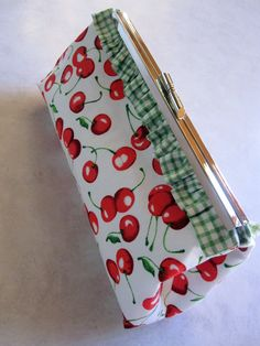Cherry clutch purse - jeanamichelle.etsy.com