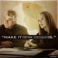 Evaluating the Mockingjay... Plutarch Heavensbee and Alma Coin devise a plan. #Mockingjay