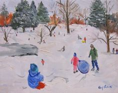 Sledding-Children sledding in winter snow, painting by artist Kay Crain  6x8 oil on canvas